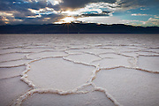 Salt formations on the dry lake at Badwater, Death Valley National Park, California