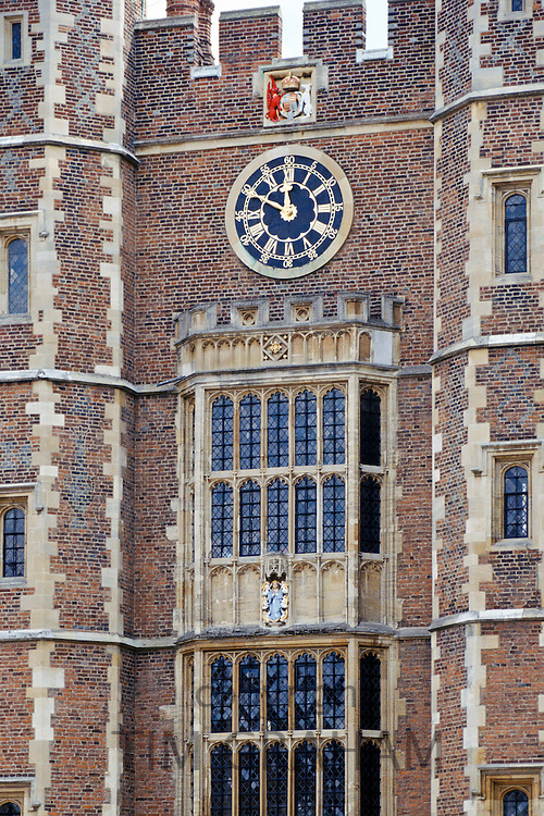 The Quadrangle (Quad) and clocktower at Eton College public school in Berkshire, England, UK