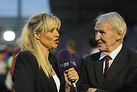 Football - 2016 / 2017 EFL League Cup - 3th round Northampton town v Manchester United<br /> <br />  Ex Manchester United player Paddy Crerand with TV Commentator and Sports Correspondent  Carrie Brown at Sixfields Stadium<br /> <br /> <br /> Credit : Colorsport / Andrew Cowie