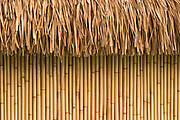 Straw detail of overwater bungalow construction, Bora Bora, Society Islands, South Pacific