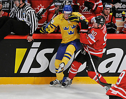 01.05.2013, Globe Arena, Stockholm, SWE, IIHF, Eishockey WM, Vorberichte, im Bild Sverige Sweden 11 Simon Hjalmarsson Canada Kanada 90 Ryan O'reilly // during the IIHF Icehockey World Championship Game between Canada and Sweden at the Ericsson Globe, Stockholm, Sweden on 2013/05/16. EXPA Pictures © 2013, PhotoCredit: EXPA/ PicAgency Skycam/ Simone Syversson..***** ATTENTION - OUT OF SWE *****