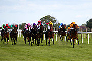Amberine ridden by Charlie Bennett and trained by Malcolm Saunders, Ask The Guru ridden by Callum Shepherd and trained by Michael Attwater, Bold Decision ridden by Hector Crouch and trained by Tony Carroll, Boorowa ridden by Kieran O'Neill and trained by Ali Stronge, Captain Ryan ridden by Nicola Currie and trained by Geoffrey Deacon, Celerity ridden by Noel Garbutt and trained by Lisa Williamson, Dahik ridden by John Fahy and trained by Nikki Evans, Dreamboat Annie ridden by Isobel Francis and trained by Mark Usher, Filbert Street ridden by Eoin Walsh and trained by Roy Brotherton, Inverarity ridden by Gabriele Malune and trained by Frank Bishop, Spirit Of Ishy ridden by Martin Dwyer and trained by Stuart Kittow, Wiff Waff ridden by Finley Marsh and trained by Adrian Wintle, Rhythmic Motion ridden by Daniel Muscutt and trained by Jim Boyle, Royal Charmer ridden by Sam Hitchcott and trained by David Flood, Shaun's Delight ridden by Liam Keniry and trained by Ronald Harris in the Visitbath.co.uk Classified Stakes - Mandatory by-line: Robbie Stephenson/JMP - 18/07/2020 - HORSE RACING- Bath Racecourse - Bath, England - Bath Races 18/07/20
