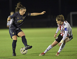 February 20, 2019 - Sheffield, United Kingdom - Kirsty Hanson (Manchester United) evades a challenge by Sheffield United Captain Ellie Gilliatt  during the  FA Women's Championship football match between Sheffield United Women and Manchester United Women at the Olympic Legacy Stadium, on February 20th Sheffield, England. (Credit Image: © Action Foto Sport/NurPhoto via ZUMA Press)