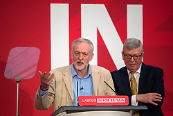 © Licensed to London News Pictures. 14/04/2016. London, UK. Leader of the Labour Party JEREMY CORBYN (left) and fFormer Home Secretary ALAN JOHNSON (right) deliver a speech and Q&A session, arguing the case for Britain remaining in Europe, at Senate House in London. The Uk is due to vote in and in out referendum in their membership of the EU on June 23rd, 2016.  Photo credit: Ben Cawthra/LNP