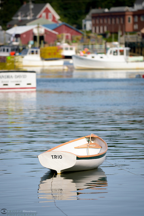 Small boat moored in Bass Harbor, Maine. USA