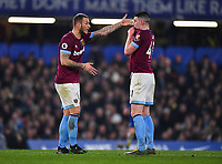 Football - 2018 / 2019 Premier League - Chelsea vs. West Ham United<br /> <br /> West Ham United's Marko Arnautovic in discussion with Declan Rice, at Stamford Bridge.<br /> <br /> COLORSPORT/ASHLEY WESTERN