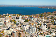 An aerial view of Madison, Wisconsin, the State Capitol, and the Isthmus, surrounded by Lakes Mendota (above) and Monona (below).
