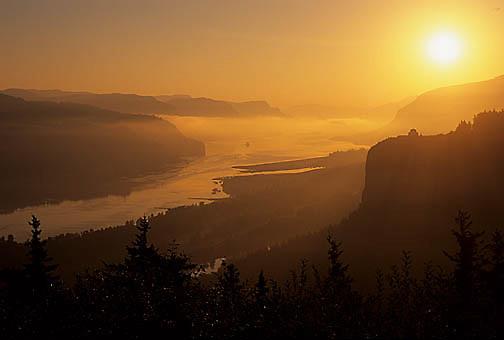 Oregon-Rivers, Columbia River. Vista House Crown Point State Scenic Corridor.