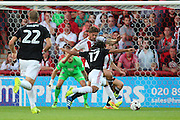 Nottingham Forest striker, on loan from Benfica, Hildeberto Pereira (17) with a shot on goal during the EFL Sky Bet Championship match between Brentford and Nottingham Forest at Griffin Park, London, England on 16 August 2016. Photo by Matthew Redman.