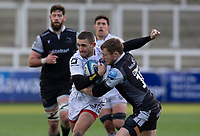Rugby Union  - 2020 / 2021 Gallagher Premiership - Newcastle Falcons vs Gloucester - Kingston Park<br /> <br /> Kyle Moyle of Gloucester Rugby is tackled by Brett Connon of Newcastle Falcons<br /> <br /> COLORSPORT/BRUCE WHITE