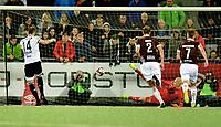 Fotball, 22. september  2019 , Eliteserien , Mjøndalen - Rosenborg<br /> Alexander Søderlund , RBK , scorer på straffespark . Julian faye Lund , MIF
