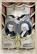 One of several campaign banners Nathaniel Currier is known to have produced for the Democrats in 1844. It features two laurel-wreathed, oval portraits of Democratic presidential and vice-presidential candidates James K. Polk (left) and George M. Dallas (right).
