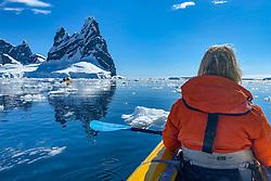Cathy Elliott Kayaking, Hidden Bay, Antarctica