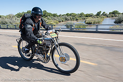 Harley-Davidson Museum Archive Restorer/Conservator Bill Rodencal of Wisconsin on his 1915 Harley-Davidson through the eastern plains of Colorado during the Motorcycle Cannonball Race of the Century. Stage-9 Dodge City, KS to Pueblo, CO. USA. Monday September 19, 2016. Photography ©2016 Michael Lichter