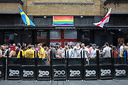 A busy Zoo bar and nightclub during Pride in London at Leicester Square on the 7th July 2018 in central London in the United Kingdom. 30,000 marched through central London for the city's annual LGBT Pride celebration.