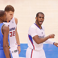 11 May 2014: Los Angeles Clippers guard Chris Paul (3) reacts next to Los Angeles Clippers forward Blake Griffin (32) and Oklahoma City Thunder forward Kevin Durant (35) during the Los Angeles Clippers 101-99 victory over the Oklahoma City Thunder, during Game Four of the Western Conference Semifinals of the NBA Playoffs, at the Staples Center, Los Angeles, California, USA.