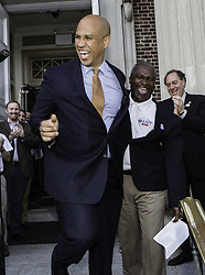 June 2, 2017 - Plainfield, Plainfield, U.S - U.S. SEN. COREY BOOKER, D-N.J. left greets Plainfield, New Jersey Mayor. Adrian O. Mapp, who is running for re-election during a Democratic pep rally at City Hall in Plainfield, New Jersey.  Far Left, Phil Murphy, a democratic gubernatorial candidate looks on.  New Jersey's primary is June 6 and the first such gubernatorial race since the 2016 Presidential elections. (Credit Image: © Brian Branch Price via ZUMA Wire)