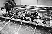"""London, United Kingdom.  Oxford University Boat Club, Training Camp at St Paul's School, Hammersmith 2-12 Jan. 1990, Photography days 3 and 6th Jan. The squad using the """"Tank"""" under the supervision of quest coach Mike SPRACKLEN.<br /> <br /> [Mandatory Credit. Peter SPURRIER Intersport Images}.<br /> <br /> Blue Boat. W, M Gaffney J J Heathcote D G Miller R J Obholzer M C Pinsent J W C Searle T G Slocock M W Watts."""