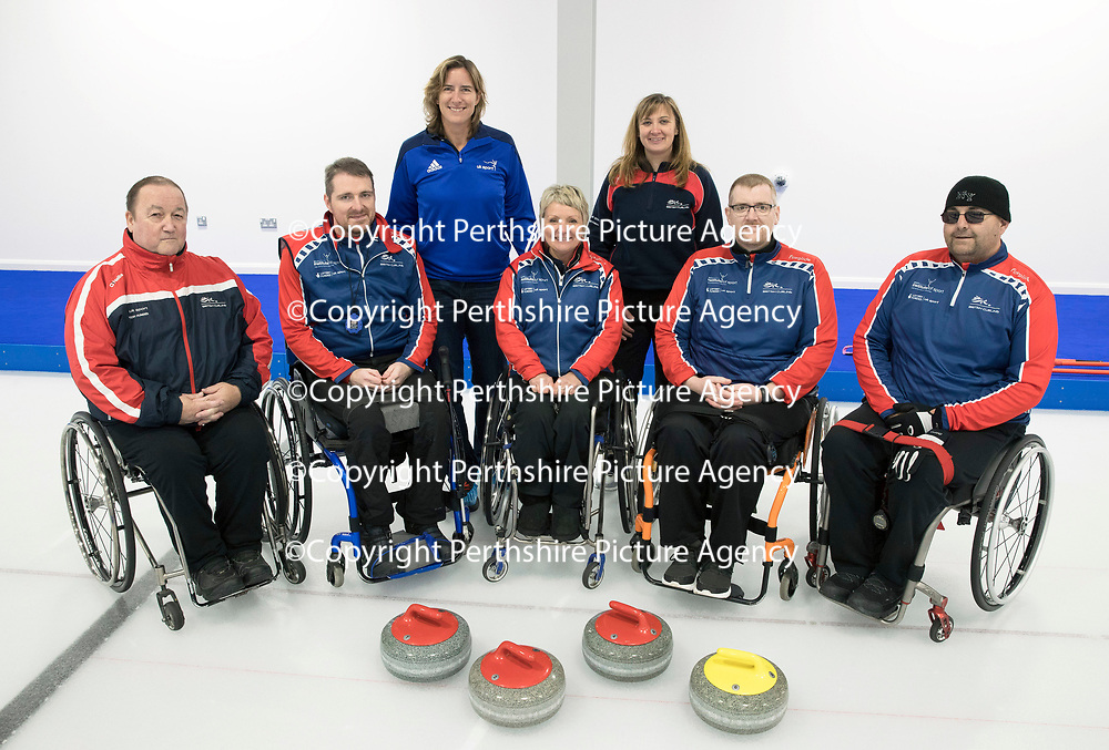 FREE TO USE PHOTOGRAPH….Dame Katherine Grainger Visits the National Curling Academy in Stirling..<br />Dame Katherine Grainger in her role as the new UK Sport Chair visited the state-of-the-art National Curling Academy in Stirling, the visit coming with just under five months to go before the PyeongChang 2018 Winter Olympics.<br />Katherine and wheelchair curling coach Sheila Swain are pictured with from left, assistant coach Tom Killin, Hugh Nibloe, Angie Malone, John Doyle and Gregor Ewan.<br />For further info contact Kate Weldon on 07751 478722 or kateweldon@live.co.uk<br />Picture by Graeme Hart.<br />Copyright Perthshire Picture Agency<br />Tel: 01738 623350  Mobile: 07990 594431