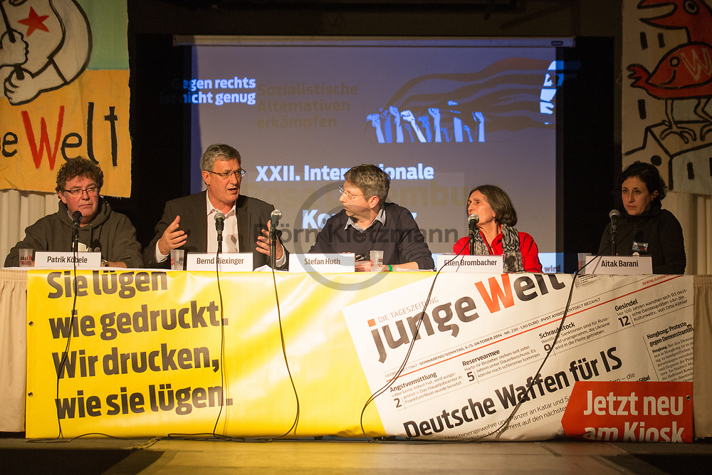 Berlin, Germany - 14.01.2017<br /> <br /> L to R: Patrik Köbele (DKP), Bernd Riexinger (Linkspartei), Stefan Huth (Junge Welt), Ellen Brombacher (Linkspartei), Aitak Barani (Zusammen e.V.). Rosa-Luxemburg conference 2017 at Mercure Hotel MOA Berlin.<br /> <br /> L nach R: Patrik Köbele (DKP), Bernd Riexinger (Linkspartei), Stefan Huth (Junge Welt), Ellen Brombacher (Linkspartei), Aitak Barani (Zusammen e.V.). Rosa-Luxemburg-Konferenz 2017 im Mercure Hotel MOA Berlin. <br /> <br /> Photo: Bjoern Kietzmann