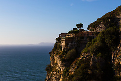 Sorrento, Italy, September 17 2017. Hotel Mega Mare is perched hundreds of feet above the Bay of Naples near Sorrento in Southern Italy. © Paul Davey
