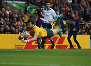 Australia's Adam Ashley-Cooper diving to score Australia's first try during the Rugby World Cup Quarter Final match between Australia and Scotland at Twickenham, Richmond, United Kingdom on 18 October 2015. Photo by Matthew Redman.