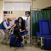 December 27, 2020, Vaccine day in Naples. Medical and health personnel get the first vaccines arrived in Italy and produced by Pfizer.