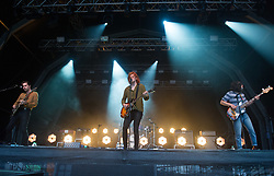 Matt Thomson, Chris Alderton and Elliot Briggs of The Amazons perform on stage on day 1 of Standon Calling Festival on July 27, 2018 in Standon, England. Picture date: Friday 27 July, 2018. Photo credit: Katja Ogrin/ EMPICS Entertainment.