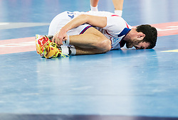 Petar Nenadic of Serbia injured during handball match between National teams of Serbia and Belarus on Day 7 in Main Round of Men's EHF EURO 2018, on January 24, 2018 in Arena Zagreb, Zagreb, Croatia.  Photo by Vid Ponikvar / Sportida