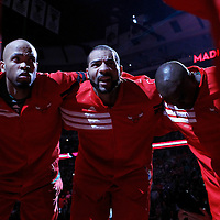 17 March 2012: Chicago Bulls forward Taj Gibson (22) and Chicago Bulls power forward Carlos Boozer (5) are seen during the players introduction prior to the Chicago Bulls 89-80 victory over the Philadelphia Sixers at the United Center, Chicago, Illinois, USA.