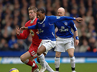 Photo: Paul Greenwood.<br />Everton v Blackburn Rovers. The Barclays Premiership. 10/02/2007. Everton's new signing Manuel Fernandes, right, beats Paul Gallagher to the ball