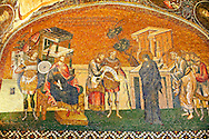 The 11th century Roman Byzantine Church of the Holy Saviour in Chora and its mosaic of Joseph and Mary and the enrollment for the census for taxation (panelA-2). Endowed between 1315-1321  by the powerful Byzantine statesman and humanist Theodore Metochites. Kariye Museum, Istanbul .<br /> <br /> If you prefer to buy from our ALAMY PHOTO LIBRARY  Collection visit : https://www.alamy.com/portfolio/paul-williams-funkystock/holy-saviour-chora-istanbul.html<br /> <br /> Visit our TURKEY PHOTO COLLECTIONS for more photos to download or buy as wall art prints https://funkystock.photoshelter.com/gallery-collection/3f-Pictures-of-Turkey-Turkey-Photos-Images-Fotos/C0000U.hJWkZxAbg