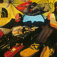 Jean-Louis Etienne & Victor Boyarsky relax in their tent at the South Pole, halfway through the 1989-1990 Trans-Antarctica Expedition.