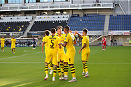 GOAL CELEBRATION Jubel um Jadon Sancho during the Paderborn vs Borussia Dortmund Bundesliga match at Benteler Arena, Paderborn, Germany on 31 May 2020.