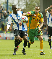 Photo: Aidan Ellis.<br /> Sheffield Wednesday v Norwich City. Coca Cola Championship. 06/05/2007.<br /> Norwich's  Andy Hughes battles with Sheffield's Jermain Johnson
