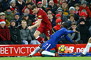 James Milner of Liverpool (l) is tackled by Ngolo Kante of Chelsea. Premier League match, Liverpool v Chelsea at the Anfield stadium in Liverpool, Merseyside on Saturday 25th November 2017.<br /> pic by Chris Stading, Andrew Orchard sports photography.
