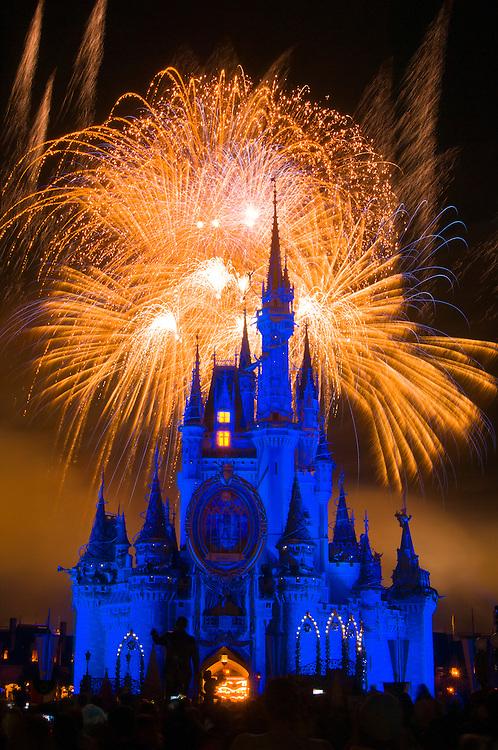 Cinderella Castle during SpectroMagic fireworks show, Walt Disney World, Orlando, Florida USA