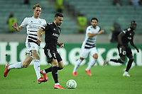 Gara Garayev (2) of Qarabag FK fights for the ball with (?) of FC Basel  during the UEFA Europa Conference League group H match between Qarabag FK and FC Basel at  on September 16, 2021 in Baku, Azerbaijan.