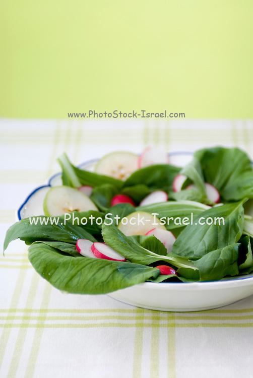 Fresh summer salad with basil, pears and radish