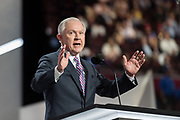 Republican Senator Jeff Sessions of Alabama addresses the first day of the Republican National Convention at the Quicken Loans Center July 18, 2016 in Cleveland, Ohio.
