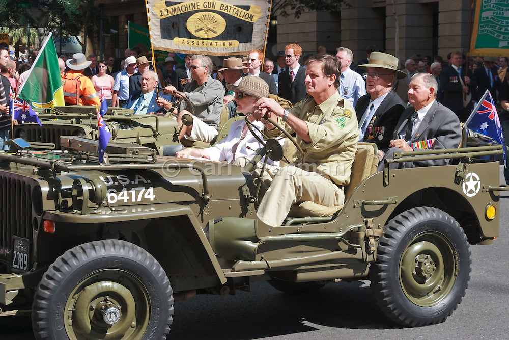 Veterans in jeep in 2005 ANZAC day parade <br /> <br /> Editions:- Open Edition Print / Stock Image