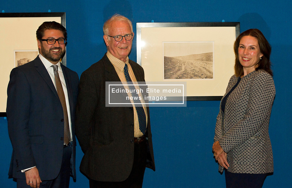 Pictured: Alessandro Nesini, Assistant curator of photography Royal Collection Trust, Roger Taylor, Photographic historian and Sophie Gordon, Head of photography, Royal Collection Trust<br /> Haunting images that brought the reality of war into the consciousness of the public and royal family for the first time are on display in a new exhibition opening at The Queen's Gallery, Palace of Holyroodhouse on Friday 4 August, whic explores the pioneering photographer's powerful images and their legacy. <br /> Ger Harley   EEm 3 August  2017