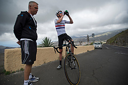 F.A.O Lisa McCLean Daily Telegraph picture desk. ©Ben Cawthra. 19/05/2012. Tenerife, Spain. Three time Olympic gold medalist, cyclist Bradley Wiggins (right) with his head coach Shane Sutton during  training on the roads surrounding the volcanic island of Tenerife in Spain. Photo credit: Ben Cawthra