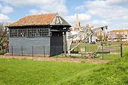 Treadwheel crane on the Green at Harwich, Essex, England, UK built 1667