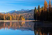 Fall reflections on Seeley Lake, Montana.