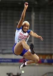 Great Britain's Jazmin Sawyers in action during the Women's Long Jump during day two of the European Indoor Athletics Championships at the Emirates Arena, Glasgow.