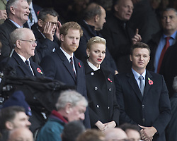 November 12, 2016 - London, England, United Kingdom - L-R Prince Harry (2nd L) and Princess Charlene of Monaco (2nd R) are seen in the stand during Old Mutual Wealth Series between England  and South Africa played at Twickenham Stadium, London, November 12th  2016  (Credit Image: © Kieran Galvin/NurPhoto via ZUMA Press)