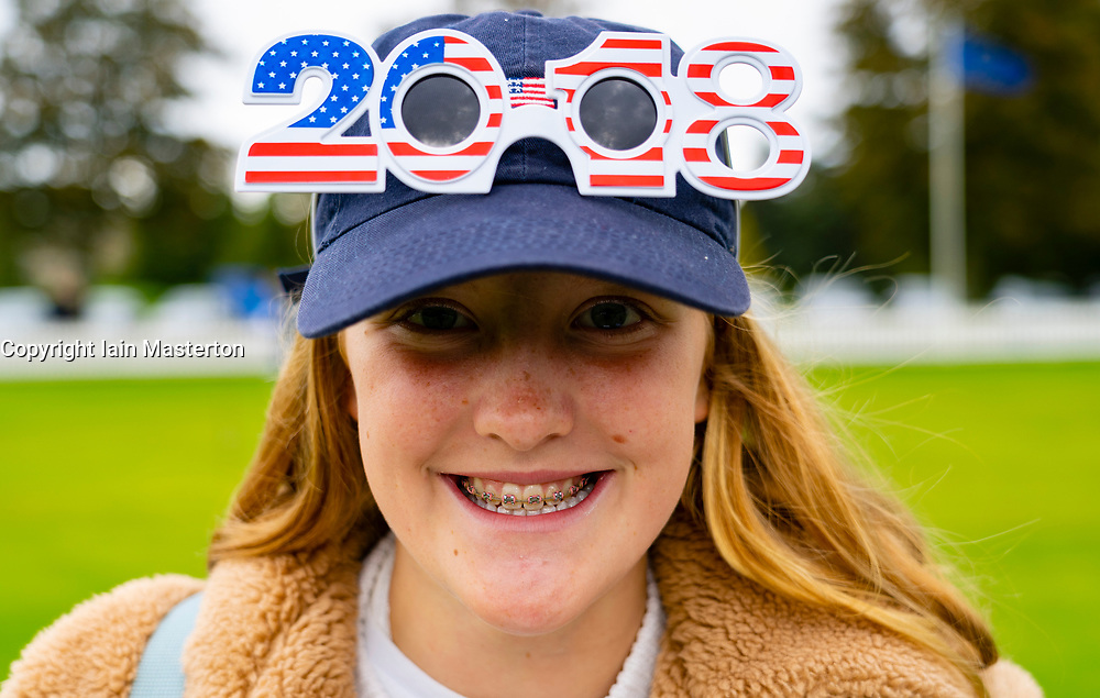 Auchterarder, Scotland, UK. 10 September 2019. Day one of the Junior Solheim Cup 2019 at the Centenary Course at Gleneagles. Tuesday Morning Foursomes. Pictured USA supporter with hat. Iain Masterton/Alamy Live News