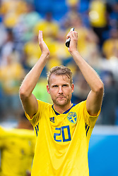 July 3, 2018 - St Petersburg, Russia - 180703 Ola Toivonen recognizes the fans of Sweden when he celebrates after winning the FIFA World Cup round of 16 match between Sweden and Switzerland on July 3, 2018 in ST Petersburg..Photo: Petter Arvidson / BILDBYRÃ…N / kod PA / 87748 (Credit Image: © Petter Arvidson/Bildbyran via ZUMA Press)