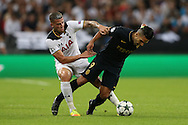 Toby Alderweireld of Tottenham Hotspur tackles Radamel Falcao Garcia of AS Monaco. UEFA Champions league match, group E, Tottenham Hotspur v AS Monaco at Wembley Stadium in London on Wednesday 14th September 2016.<br /> pic by John Patrick Fletcher, Andrew Orchard sports photography.
